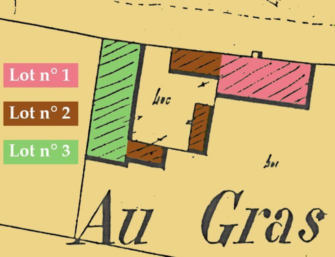 Agrandissement du cadastre et représentation des trois lots.