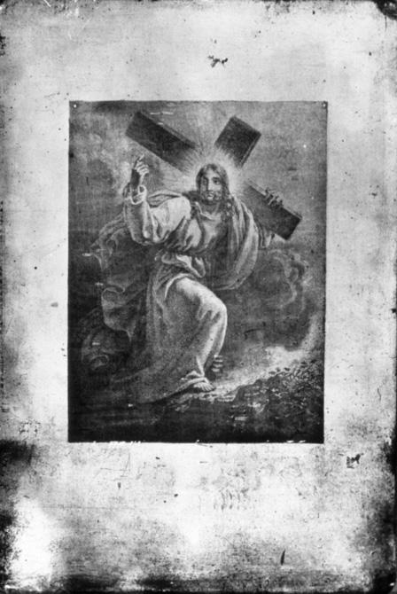 Oeuvre de Nicéphore Niépce - Le Christ portant sa croix (vers 1827 ?) - Reproduction d'un dessin par contact.