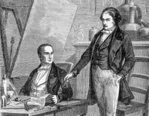 Niépce and Daguerre sign their contract.