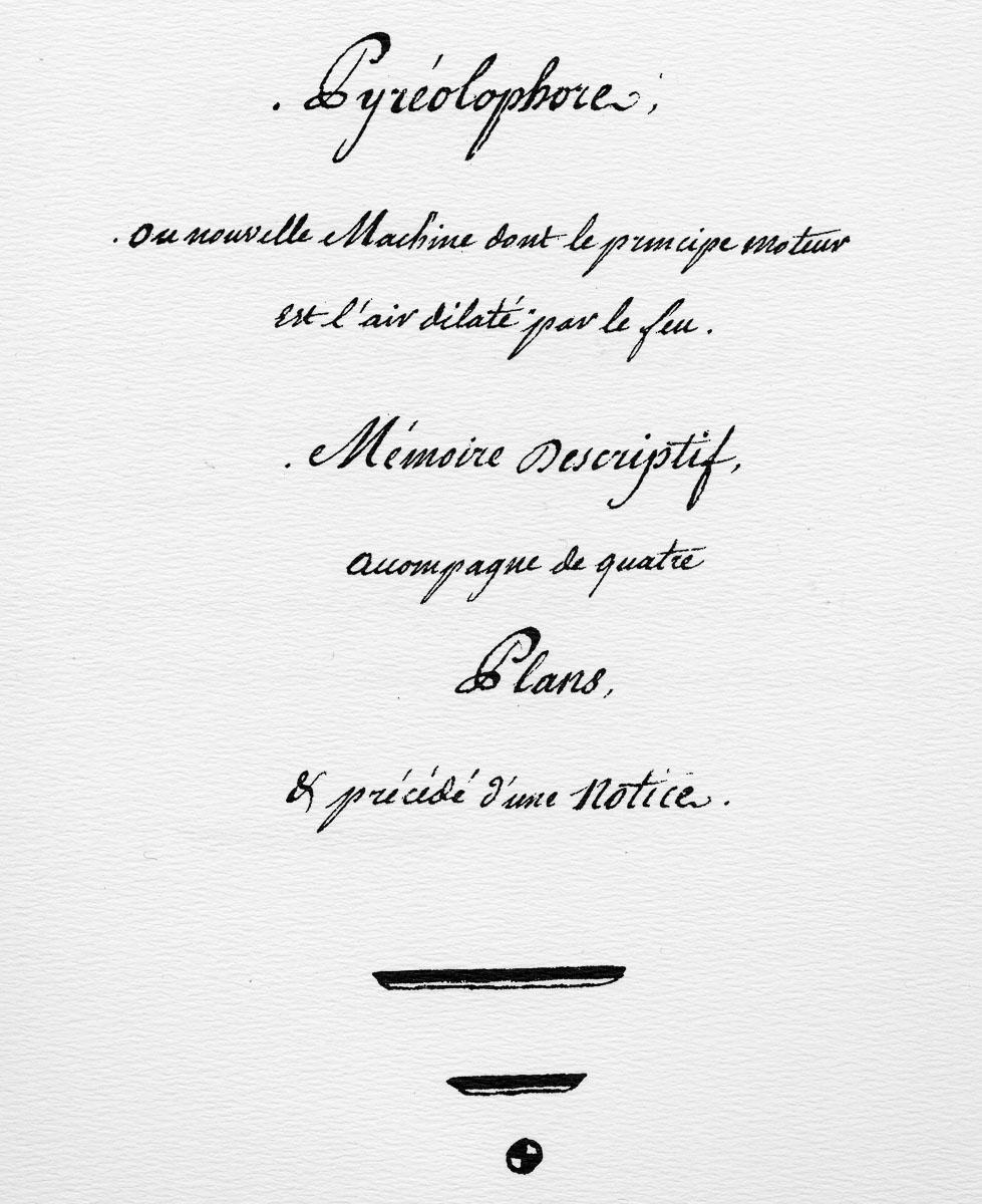 Paris, 9 novembre 1806. Présentation, descriptif et plans du moteur inventé par Claude et Nicéphore.